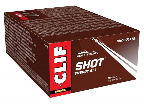 Clif Shot Energy Gel MHD 08.08.2021 Chocolate Schokolade 24-er