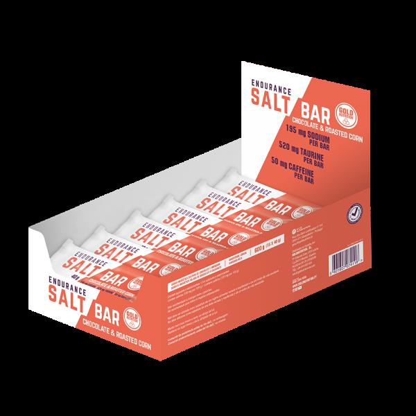 GoldNutrition Endurance Salt Bar MHD 05.07.2019 Chocolate & Roasted Corn