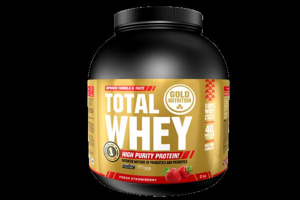 GoldNutrition Total Whey 2 KG Protein Shake Strawberry Erdbeere MHD 31.01.2023